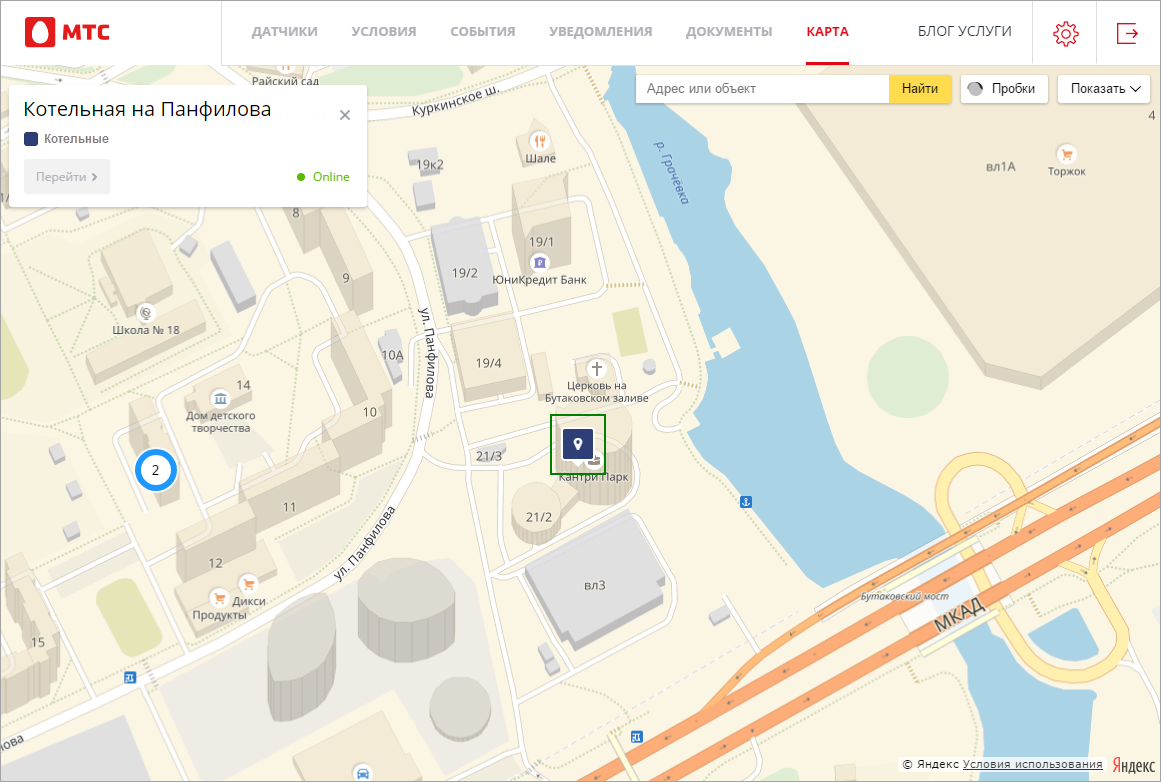 Местоположение хаба на карте в веб-интерфейсе