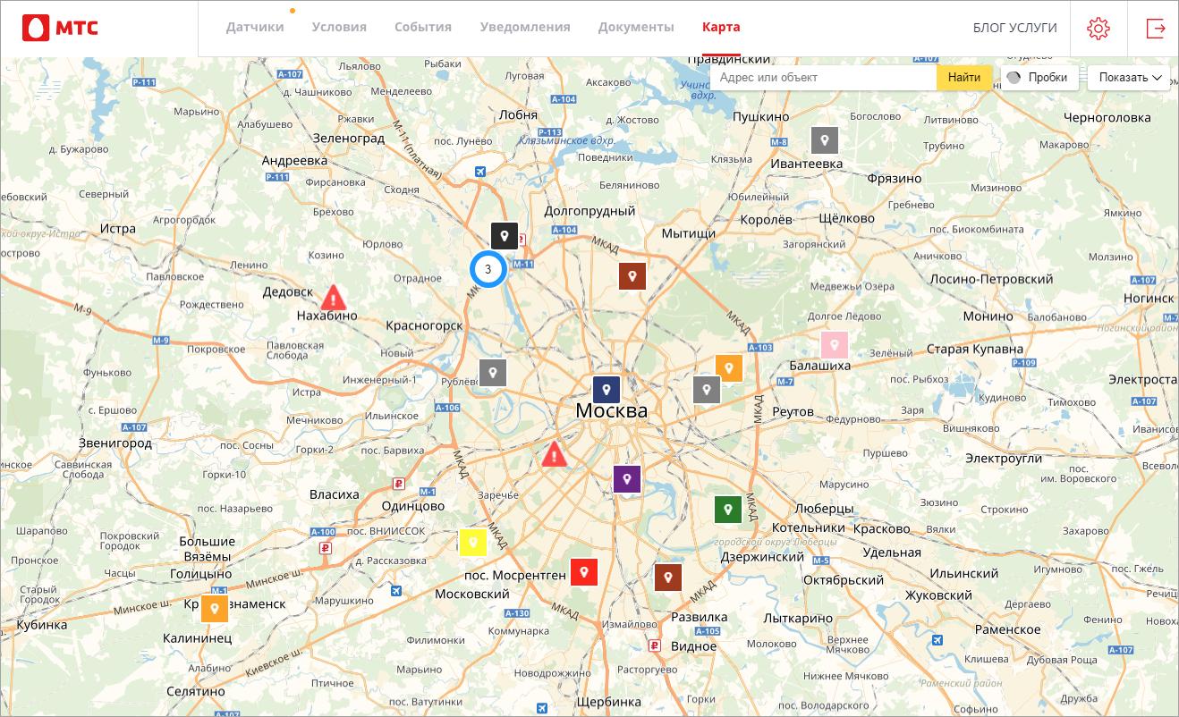 Новая вкладка Карта в веб-интерфейсе
